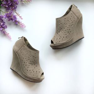 Delicacy Suede Peep Toe Wedge - Size 7